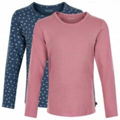Minymo - Kid's Basic 35 T-Shirt L/S (2-Pack) - Longsleeve maat 110, roze/blauw/grijs