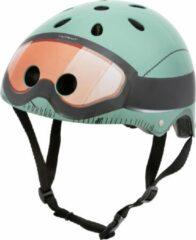 Groene Mini Hornit Lids Fietshelm Voor Kinderen - Met Led Achterlicht - Military (M)