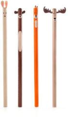Kikkerland potloodset Woodland junior hout oranje/grijs/bruin