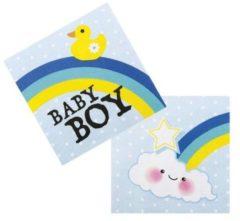 Merkloos / Sans marque Geboorte Servetten Jongen Baby Boy 33x33cm 12 stuks