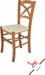 T m c s Tommychairs - Stoel model Cross. Zeer geschikt voor keuken, eetkamer, maar ook voor de horeca. In het kersenhout gelakte houten frame met ivoorkleurige imitatielederen stoelzitting
