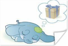 PosterMonkey Een illustratie van een blauwe baby olifant die droomt poster 80x60 cm - Foto print op Poster (wanddecoratie woonkamer / slaapkamer) / Wilde dieren Poster