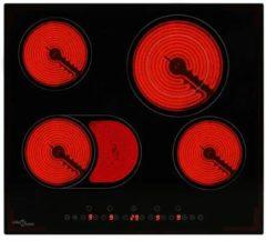 Zwarte VidaXL Keramische kookplaat met 4 kookzones aanraakbediening 6600 W