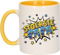 Bellatio Decorations Stoerste papa cadeau koffiemok / theebeker wit en geel met sterren - 300 ml - Vaderdag - keramiek - cadeau beker / waardering mok