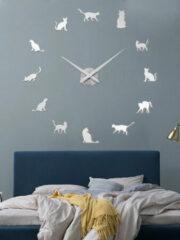 Gouden Newchic Cat DIY Three-dimensional Wall Sticker Wall Clock Living Room Decoration Clock Nordic Simple Clock Wall Clock