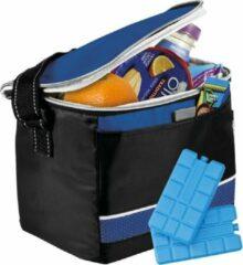 Shoppartners Zwart/blauwe koeltas met 4x koelelementen set