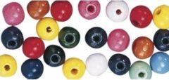Rayher Hobby Gekleurde Hobby Kralen Van Hout 10mm - 52x Stuks - Diy Sieraden Maken - Kralen Rijgen Hobby Materiaal