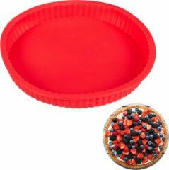 Rode Relaxdays bakvorm taartbodem - siliconen - flexibel - taartvorm - 25 cm - rond