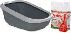 Antraciet-grijze PeeWee EcoGranda Startpakket - Kattenbak - Grijs - 66.5 x 48.5 x 28 cm