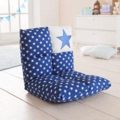 Blauwe Howa 2 in 1 Kinderfauteuil + Kinderlounger - 6-voudig verstelbare rugleuning blauw / wit 8600