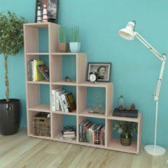 Bruine VidaXL Boekenkast/presentatiemeubel trapvormig 142 cm eikenkleur