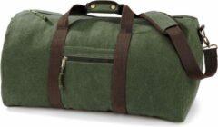 Bruine Quadra Canvas weekendtas/reistas donker/legergroen 45 liter - Vintage reistassen/weekendtassen - Tassen voor dames/heren/volwassenen
