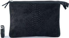 Zwarte DSTRCT Suède dames portemonnee clutch met anaconda print zwart