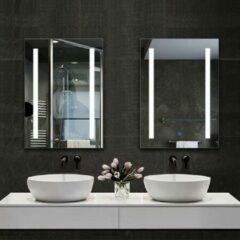 Witte Aica Sanitair LED rechthoekige badkamerspiegel 50x70cm,4mm wandspiegel,enkele touch sensor schakelaar,anti-condens