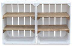 Steigerhoutpassie Fruitkist - Nieuw -Wit - Set van 2 - 2 Legplanken Bruin - 40x30x50cm