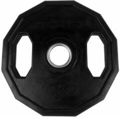 Zwarte Tunturi Olympische Halterschijf - Halter gewichten - 1x 10 kg - 50mm - Rubber