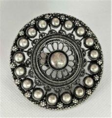 Zeeuws Meisje - Ring - Extravagante uitzonderlijk grote, Zeeuwse knop filigrain allergrootste statement ring 7 cm doorsnede, zwaar verzilverd, past altijd.