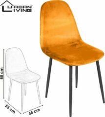 Urban Living - Set van 4 Eetkamerstoelen | Okergeel Fluweel/Velours| Zwart Metalen Onderstel