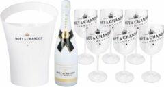 Moet & Chandon Moët & Chandon Ice Bucket met 6 Transparante Plastic Glazen - Luxe Wijnkoeler / IJsemmer en Champagneglas 6x