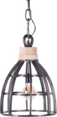 Grijze Collectione Hanglamp Larino klein faded grey + hout