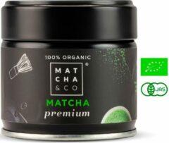 Matcha & Co ceremoniële matcha PREMIUM thee uit Japan - matcha poeder - matcha thee - 100% organisch gecertificeerd - 30 gram