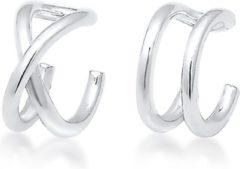 Zilveren Elli Oorbellen Oorringen earcuff set geo basic minimal 925 Sterling silver
