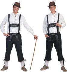 Funny Fashion Boeren Tirol & Oktoberfest Kostuum | Zwarte Lange Tiroler Neurenberg Lederhosen Man | Maat 48-50 | Bierfeest | Verkleedkleding