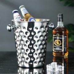 Roestvrijstalen Decopatent® RVS ijsemmer - Champagne ijs emmer met handvat - Champagnekoeler - Drankemmer - Wijnkoeler - 26x20x23.5 Cm - Zilver