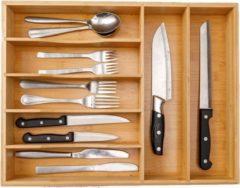 Naturelkleurige Decopatent® Bestekbak voor keukenla met 7 Vakken - Bestek organizer - Bestekla - Hoogwaardig Bamboe Hout - Bestekcassette 43x33x6