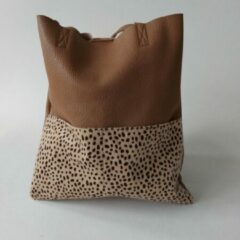 Yehwang - Shopaway shopper - schoudertas - taupe - dierenprint - 30x35cm