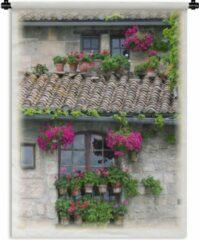 1001Tapestries Wandkleed Arles - Huis versierd met bloempotten in Arles Wandkleed katoen 60x80 cm - Wandtapijt met foto