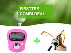 Roze Firsttee - Combi DEAL - AANBIEDING - Digitale Scoreteller & Swing Guide - Verbeter je swing - Swingtrainer - Compact - Teller - Counter strike - Golf sport - Slagenteller - Golf accessoires - Golftrainingsmateriaal - Golf training - Cadeau - Golfset