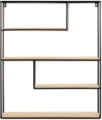 LIFA LIVING Vintage Wandrek, Zwarte Wandplank, Metaal en Houten Kruidenrek, Moderne Wanddecoratie, Rechthoekig Muurrek voor Woonkamer, Slaapkamer, Keuken, 70 x 60 x 11 cm