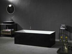 Mawialux vrijstaand bad | Solid surface | 170x73 cm | Wit - zwart | ML-112-VBMG-WZ