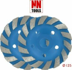 N&N Tools Diamantdoorslijpschijf Bias Cup Professional Multi Pack - 2 x 125 mm | Wet & Dry