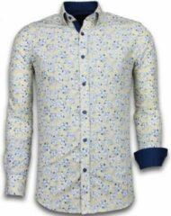 Tony Backer Italiaanse Overhemden - Slim Fit Overhemd - Blouse Drawn Flower Pattern - Beige Casual overhemden heren Heren Overhemd Maat L