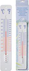 Esschert design Binnen of buiten thermometer op wandplaat wit 45 cm