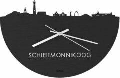 WoodWideCities Skyline Klok Schiermonnikoog Zwart hout - Ø 40 cm - Woondecoratie - Wand decoratie woonkamer