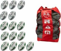 RAM Rugtby RAM Rugby® Raider rugbybal bundel - Met tas - Maat 5 - 15 stuks