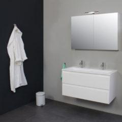 Badkamermeubelset BWS met Acryl Wastafel 100 cm 2 Kraangaten incl Spiegelkast Wit