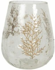 Clayre & Eef Glazen Theelichthouder Takken 6GL2853 Ø 16*18 cm Transparant Glas Waxinelichthouder Windlichthouder