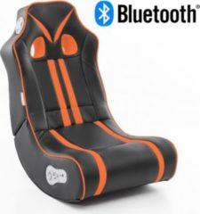 Wohnling ® Soundchair NINJA in Schwarz Orange mit Bluetooth Musiksessel mit eingebauten Lautsprechern Multimediasessel für Gamer 2.1 Soundsystem