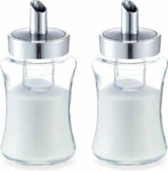Transparante Zeller 2x Suikerstrooiers van glas/metaal 175 ml - Keukenbenodigdheden - Keukenaccessoires - Suikerstrooiers/suikerpotjes voor thuis en in de horeca