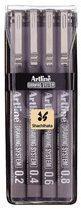 Artline Fineliner Drawing System etui van 4 stuks: 0,2 - 0,4 - 0,6 en 0,8 mm
