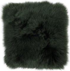 Donkergroene Dutchskins Stoelkussen - zitkussen schapenvacht - donker groen vierkant - stoelpad