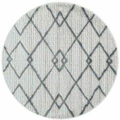 Grijze Pisa Modern Design Rond Vloerkleed Laagpolig Creme - 160 CM ROND