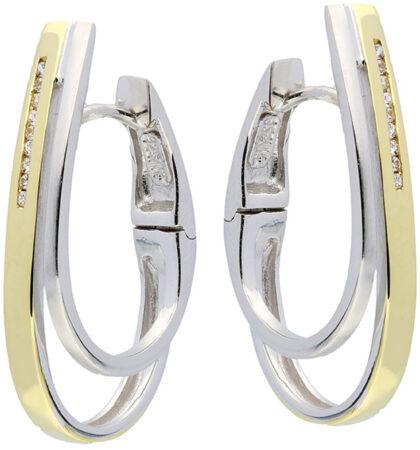 Afbeelding van Elegance Zilveren Oorbellen klapcreolen met zirconia goudkleurig 107.5153.00