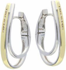 Elegance Zilveren Oorbellen klapcreolen met zirconia goudkleurig 107.5153.00