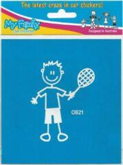 The Sticker Family Jongen met tennisracket - autosticker - wit - 8,7 cm
