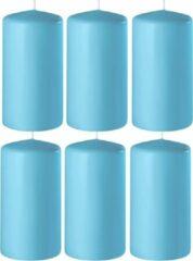 Enlightening Candles 6x Turquoise cilinderkaarsen/stompkaarsen 6 x 15 cm 58 branduren - Geurloze kaarsen turquoise - Woondecoraties